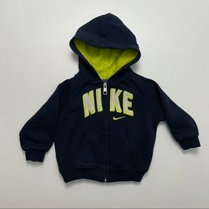 Nike Hoodie Sweatshirt Full Zip Embroidered Spell Out Logo Graphic Blue Green